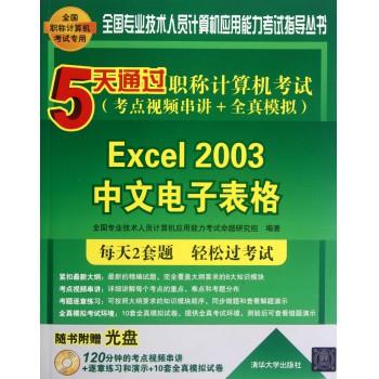 Excel2003中文电子表格(附光盘5天通过职称计算机考试考点视频串讲+全真模拟)/全国专业技术人员计算机应用能力考试指导丛书